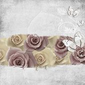 image of brooch  - retro background with diamonds text love flowers and butterfly - JPG
