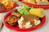 stock photo of biscuits gravy  - Fried chicken with mashed potatos and gravy - JPG