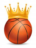 Постер, плакат: Basketball Ball in Golden Royal Crown Concept of success in basketball sport Basketball king of