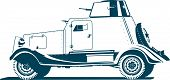 pic of armored car  - Vector monochrome illustration of  vintage armored car  - JPG