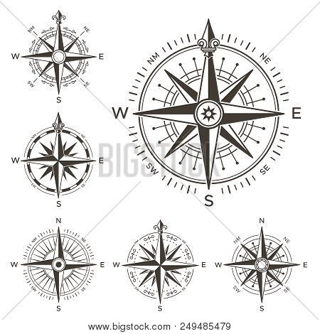 Retro nautical compass vintage rose of wind for sea world map vintage rose of wind for sea world map navigation marine windrose icons gumiabroncs Gallery