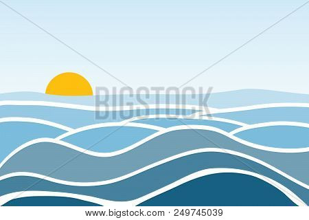 poster of Sea Waves. Sunrise Against The Background Of The Sea And Waves. Flat Design, Vector Illustration, Ve