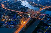 Aerial View Of Bhumibol Bridge,aerial View Of The Highway,expressway And Motorway At Night, Aerial V poster