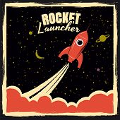 Rocket Launcher Startup Rocket Retro Poster With Vintage Colors And Grunge Effect. Vector, Illustrat poster
