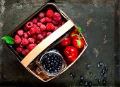 Basket With Organic Berries  On Vintage Rusty Metal Background. Harvest Of Berries,copy Space, Close poster
