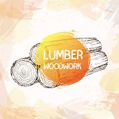 Wood, Burning Materials. Vector Sketch Illustration Collection. Materials For Wood Industry. poster