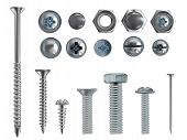 Vector 3d Realistic Illustration Of Stainless Steel Bolts, Nails And Screws On White Background. Top poster