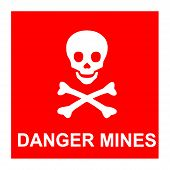 stock photo of landmines  - Vector image of red sign with skull and text  - JPG