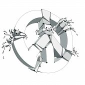 Peace Symbol Breaking To Pieces Vector 3d Mesh Illustration, Broken Peace, Antiwar Meeting And Prote poster