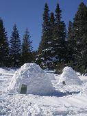 stock photo of igloo  - Snow made igloos in a winter mountain - JPG