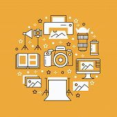 Photography Equipment Poster With Flat Line Icons. Digital Camera, Photos, Lighting, Video Cameras,  poster