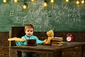 Food Concept. Little Boy Eat Food At School. Child Enjoy Tasty Food During Lunch Break. Healthy Food poster
