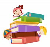 stock photo of girl reading book  - Group Of Kids Playing With Pile Of Books - JPG