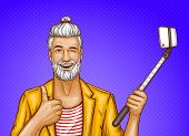 Vector Smiling Old Man With Selfiestick, Happy Gray-haired Hipster In Trendy Jacket Shows Thumb Up A poster
