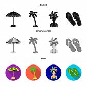 Brazil, Country, Umbrella, Beach . Brazil Country Set Collection Icons In Black, Flat, Monochrome St poster