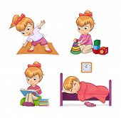 Active Lifestyle Of Girl Set Of Activities, Stretching Playing Games Reading And Sleeping, Active Li poster