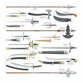 Sword Vector Medieval Weapon Of Knight With Sharp Blade And Pirates Knife Illustration Broadsword Se poster