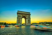 Arch Of Triumph. Arc De Triomphe At The Western End Of The Champs Elysees At The Center Of Place Cha poster