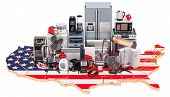 Map Of Usa With Home And Kitchen Appliances, 3d Rendering Isolated On Black Background poster