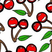 Seamless Pattern From Cherry Berries. Vector Illustration Of A Cherry Seamless Pattern. Hand Drawn C poster