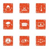 Slackness Icons Set. Grunge Set Of 9 Slackness Vector Icons For Web Isolated On White Background poster