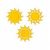 3 Sun Vector Isolated Summer Icon Design. Vector Yellow Sun Symbol. Vector Sun Sun Element. Sun Weat poster