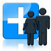 stock photo of medical supplies  - Blue medical icon with people and cross - JPG