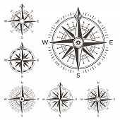 Retro Nautical Compass. Vintage Rose Of Wind For Sea World Map Navigation Marine Windrose Icons. Wes poster