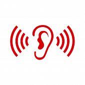 Ear Listen Vector Icon On White Background. Ear Vector Icon. Listening Vector Icon. poster