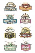 Fishing Club Retro Icons With Fish And Fishery Gear. Boats Rental And Fishing Tournament, Expedition poster
