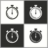 Clock Time Icon, Stopwatch Timer Symbol. Vector Illustration Isolated. Simple Pictogram. poster