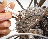 Syringe Near Road Race Bicycle Cassette, Mechanical Doping poster