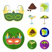 Brazil, Country, Mask, Carnival . Brazil Country Set Collection Icons In Cartoon, Flat Style Vector  poster