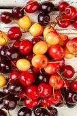Background Of Ripe Juicy Cherries. Heap Of Sweet Juicy Berries. Summer Fruity Background. poster