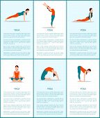 Yoga Poses Collection, Flexible Woman, Color Card, Vector Illustration, Back Bend And Plank Active P poster