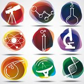 stock photo of neutrons  - Set of scientific symbols - JPG