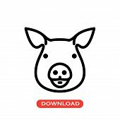 Pig Head Vector Icon Flat Style Illustration For Web, Mobile, Logo, Application And Graphic Design.  poster