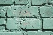 Brick Wall Green With A Crumbling Thin Layer Of Putty Grunge Background For Design poster