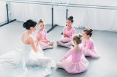 High Angle View Of Kids In Pink Tutu Skirts And Young Ballet Teacher Sitting Together In Ballet Scho poster
