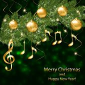 Abstract New Year Background With Musical Notes And Treble Clef On A Christmas Tree Branch poster