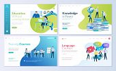 Set Of Web Page Design Templates For Distance Education, Consulting, Training, Language Courses. Mod poster