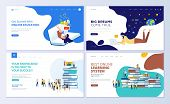 Set Of Web Page Design Templates For Online Education, Training And Courses, Learning, Video Tutoria poster
