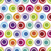 Crooked seamless retro circle pattern in vector