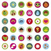 pic of lightning bugs  - colourful collection of nature icons in vector - JPG