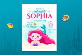 Mermaid Birthday Cute Invite Card Design For Little Princess. Kids Party Anniversary. Sea Underwater poster