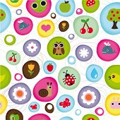 pic of water bug  - Cute kid pattern with little animals bugs and fruit in vector - JPG