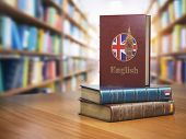 Learn English concept. English dictionary book or textbok with flag of Great Britain and Big ben tow poster