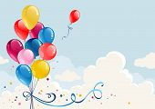 foto of helium  - Birthday balloons background with space for text - JPG