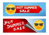 Summer Sale Banners Set. Colorful Banners With A Smiling Sun In Black Sunglasses And Inscription - H poster