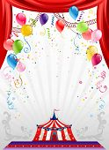 Circus background with balloons with space for text